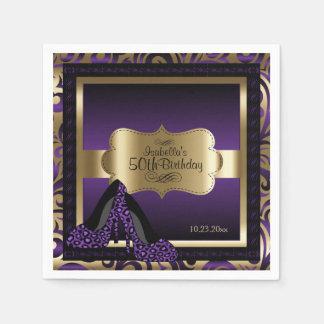 Purple & Gold Metallic - 50th Birthday  | DIY Text Disposable Napkin