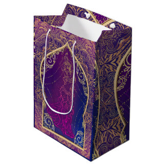 Purple & Gold Moroccan Arabian Belly Dancing Party Medium Gift Bag