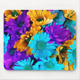 Purple Gold N Turquoise Daisies Mouse Pad