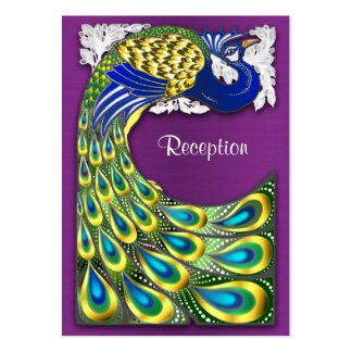 Purple & Gold Peacock Wedding Reception Cards Business Card