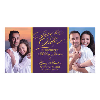Purple Gold Photo Collage Wedding Save the Date Picture Card