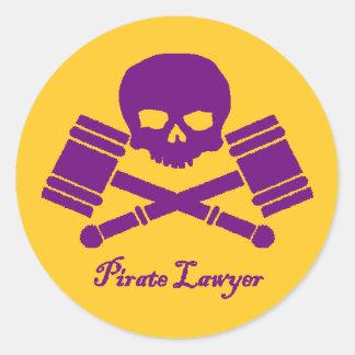 Purple & Gold Pirate Lawyer Sticker w/ Border