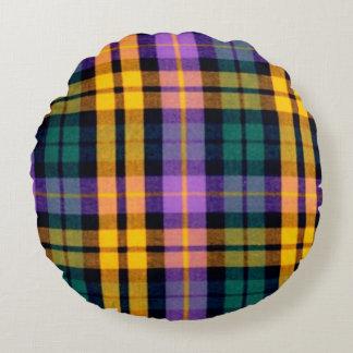 Purple Gold Plaid Round Pillow