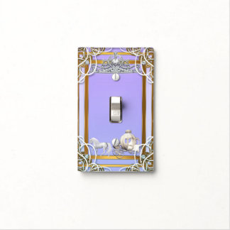 Purple Gold Princess Crown & Carriage Fairy Tale Light Switch Cover