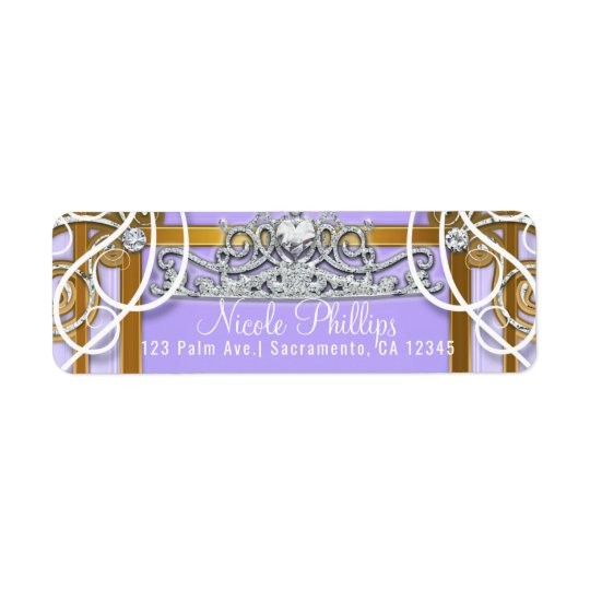 Purple Gold Princess Crown Carriage Sweet 16 Party