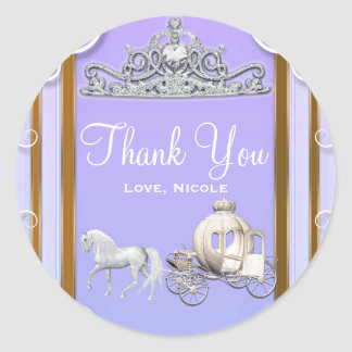 Purple Gold Princess Crown Carriage Sweet 16 Party Classic Round Sticker