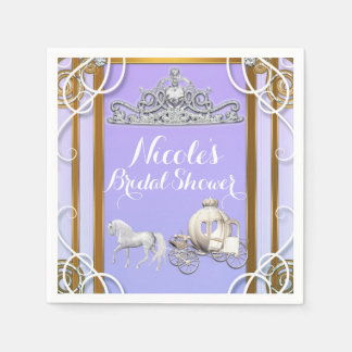Purple Gold Princess Crown Carriage Sweet 16 Party Paper Napkins