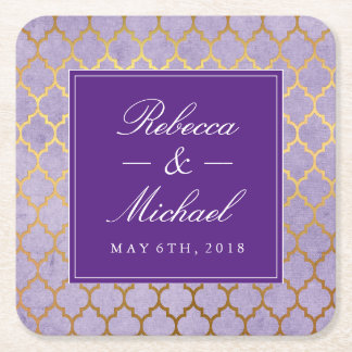 Purple & Gold Quatrefoil Wedding Square Paper Coaster