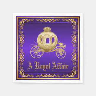 Purple Gold Royal Carriage Royal Party Event Disposable Napkin