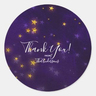 Purple Gold Shining Bright Stars Party Favor Classic Round Sticker