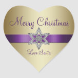 Purple Gold Snowflake Merry Christmas Sticker