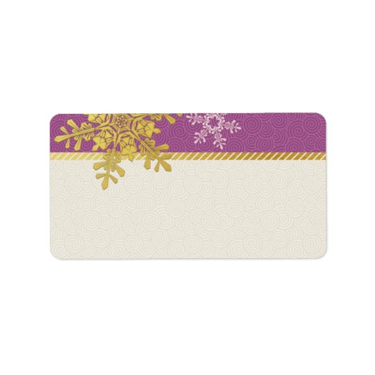 Purple Gold Snowflake Wedding Blank Address Labels