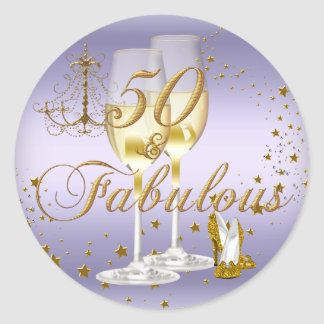 Purple Gold Sparkle 50 & Fabulous Birthday Sticker