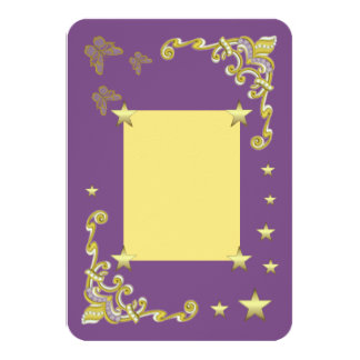 Purple Gold Star RSVP Invitation / Flat Card