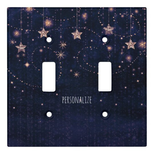 Purple & Gold Starry Celestial Whimsical Light Switch Cover