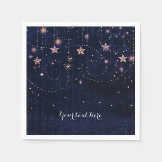Purple & Gold Starry Celestial Whimsical Party Paper Napkin