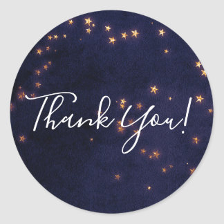 Purple & Gold Stars Celestial Sky Party Favor Classic Round Sticker