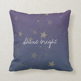 Purple Gold Stars Confetti Throw Pillow