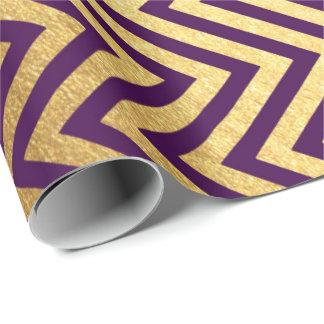 Purple Gold Stripes  Herringbones  Zig Zag Chevron Wrapping Paper