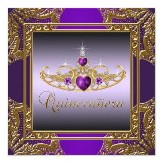 Purple Gold Tiara Purple Quinceanera Card