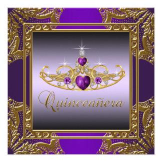 Purple Gold Tiara Purple Quinceanera Invite