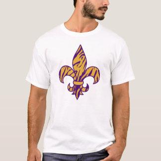 Purple & Gold Tiger Striped Fleur de Lis T-shirt