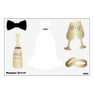 PURPLE GOLD WEDDING THEME WALL DECALS