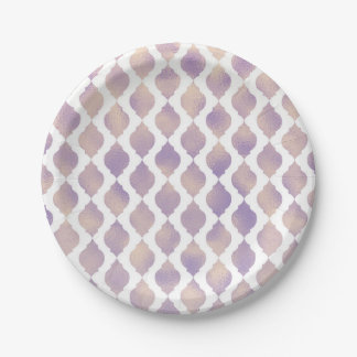 Purple Gold & White Moroccan Modern Custom Party Paper Plate