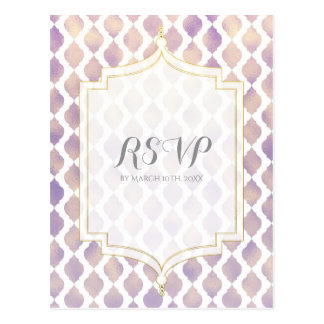 Purple Gold & White Moroccan Modern Wedding RSVP Postcard