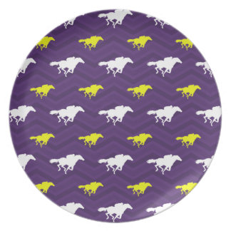 Purple, Gold Yellow, White, Horse Racing Chevron Party Plate