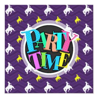 """Purple, Gold Yellow, White, Rodeo Cowboy Chevron 5.25"""" Square Invitation Card"""