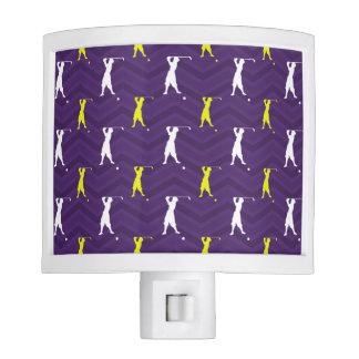 Purple, Gold Yellow, White, Vintage Golfer Nite Lights