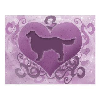 Purple Golden Retriever Valentine Postcard