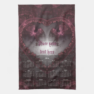 Purple Gothic Heart 001 - Calendar 2018 Kitchen Towel