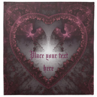 Purple Gothic Heart 001 Printed Napkins