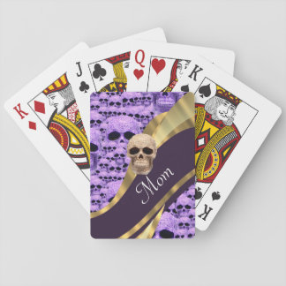 Purple Gothic skull and mom text Playing Cards