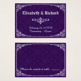 Purple Gothic Victorian Damask Wedding Place Card