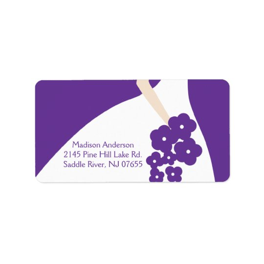 Purple Graceful Bride Return Address Label