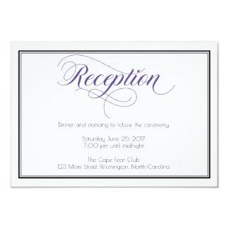 Purple Graceful Script Wedding Reception Card