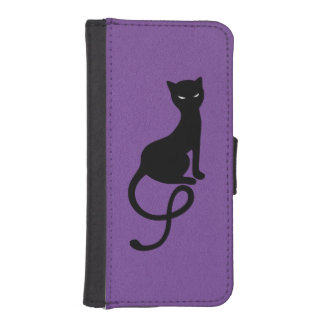Purple Gracious Evil Black Cat iPhone SE/5/5s Wallet Case
