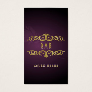 Purple Gradient And Gold Metal Look 2Business Card