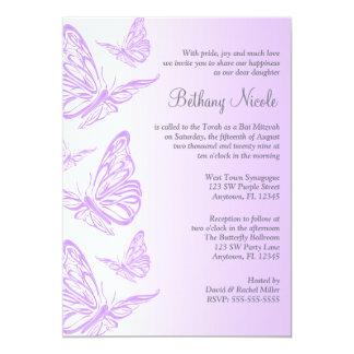 Purple Gradient Butterfly Bat Mitzvah Invitations