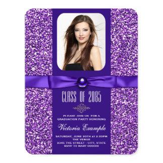 "Purple Graduation Announcements 4.25"" X 5.5"" Invitation Card"