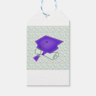 Purple Graduation Cap & Diploma, Colorful Diplomas Gift Tags