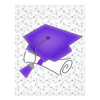 Purple Graduation Cap & Diploma, Colorful Diplomas Letterhead