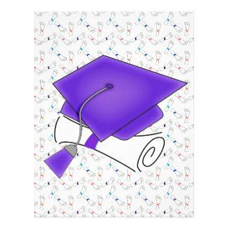 Purple Graduation Cap & Diploma, Colorful Diplomas Letterhead
