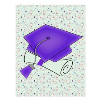 Purple Graduation Cap & Diploma, Colorful Diplomas Postcard
