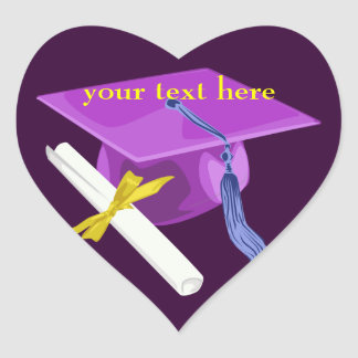 Purple Graduation Cap Heart Stickers