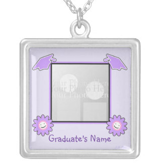 Purple Graduation Smiley Flowers (photo frame) Silver Plated Necklace