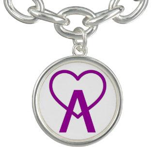 Purple Grape A~Heart Charm Bracelet